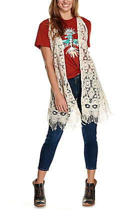 Magnolia Lane Women's Natural Tan Crochet Vest