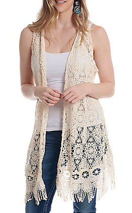Anne French Natural Crochet Vest