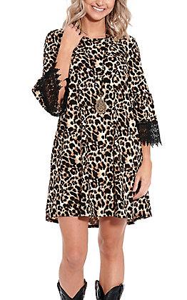 Lore Mae Women's Leopard & Lace Fashion Dress