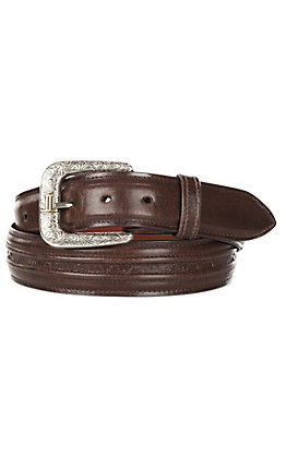 Lucchese Men's Tan Ranch Hand Brown Hobby Stitched Western Belt