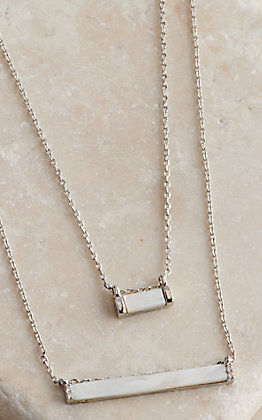 Amber's Allie Silver with Rectangle Mother of Pearl Pendants Double Layered Necklace