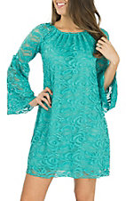 Lore Mae Women's Turquoise Lace L/S Dress