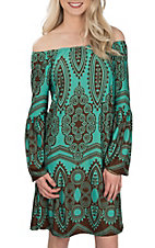Lore Mae Women's Turquoise and Brown Paisley Print Dress