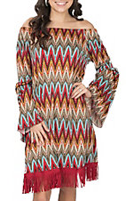 Lore Mae Women's Red, Turquoise and Brown Fringe Dress