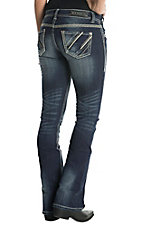 Rock & Roll Cowgirl Women's Dark Wash Rival Low Rise Boot Cut Jean