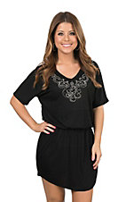 Lore Mae Women's Black with Embellished Neckline Short Sleeve Drop Waist Dress