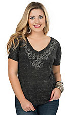 09 Apparel Women's Marble Black with Rhinestones Short Sleeve Knit Top