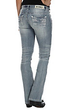 Rock & Roll Cowgirl Women's Light Vintage Wash Abstract Embroidery w/ Crystals Low Rise Boot Cut Jean