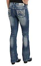 Rock & Roll Cowgirl Women's Rival Light Wash with Chevron Stitch & Rhinestones Low Rise Boot Cut Jean