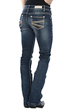 Rock & Roll Cowgirl Women's Tan Stitched Pocket on Open Pocket Boot Cut Jeans