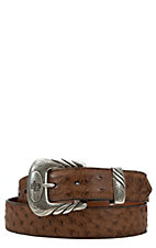 Lucchese Mens Barnwood Brown Full Quill Ostrich Belt
