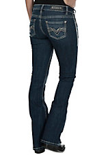 Rock & Roll Cowgirl Women's Dark Vintage Wash with Charcoal Leather Pocket Rival Low Rise Boot Cut Jean
