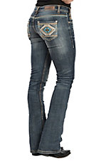 Rock & Roll Denim Rival Turquoise and Khaki Aztec Boot Cut Jeans