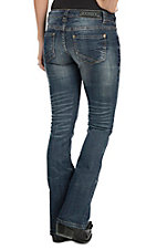 Rock & Roll Cowgirl Women's Dark Wash with Copper Contrast Stitching Rival Low Rise Boot Cut Jean