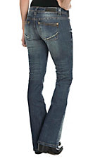 Rock & Roll Cowgirl Women's Medium Wash with Copper Stitching Open Pocket Boot Cut Jeans