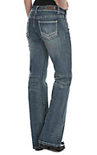 Rock & Roll Cowgirl Women's Medium Wash with Triple V Stitching Open Pocket Boot Cut Jeans