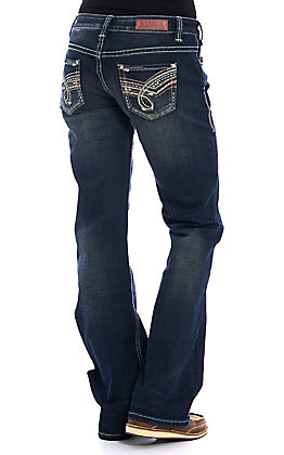 Rock & Roll Cowgirl Women's Dark Wash Riding Boot Cut Jeans