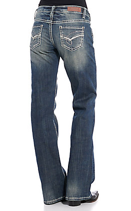 Rock & Roll Cowgirl Embroidered Riding Boot Cut Jeans