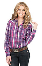 09 Apparel Women's Purple & Pink Plaid with Lurex Long Sleeve Western Shirt