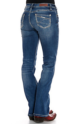 Rock & Roll Cowgirl Women's Medium Vintage Wash Boot Cut Riding Jeans