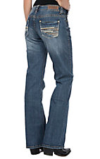 Rock & Roll Cowgirl Women's Multi-Color Embroidery on Open Pocket Riding Boot Cut Jeans