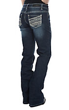 Rock & Roll Cowgirl Women's Dark Wash Diagonal Sparkle Stitched Pocket Boot Cut Riding Jeans