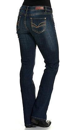Rock & Roll Cowgirl Women's Dark Wash Boot Cut Riding Jeans
