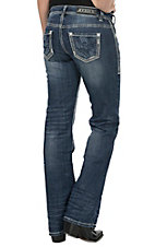 Rock & Roll Cowgirl Women's Medium Vintage Wash with Heavy Abrasion & Seams Open Pocket Riding Fit Boot Cut Jean
