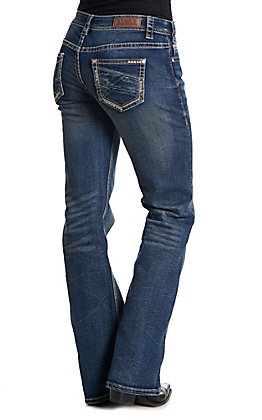 Rock & Roll Cowgirl Women's Dark Wash Pleat Stitch Extra Stretch Bootcut Riding Jeans