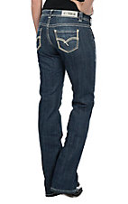 Rock & Roll Cowgirl Women's Dark Wash Multi Stitch Open Pocket Boot Cut Riding Jean