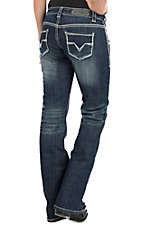 Rock & Roll Cowgirl Women's Dark Wash with Silver Lurex Open Pocket Boot Cut Riding Jeans