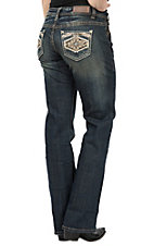 Rock & Roll Denim Rival White and Khaki Aztec Boot Cut Jeans