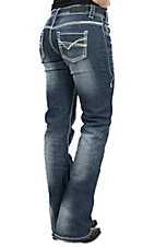 Rock & Roll Cowgirl Women's Medium Wash with Thick Stitch Riding Fit Boot Cut Jean