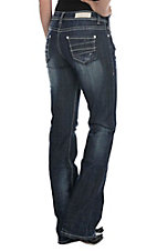 Rock & Roll Cowgirl Women's Dark Wash with Layered Details on Open Pocket Boot Cut Jeans