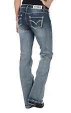 Rock & Roll Cowgirl Women's Medium Wash with Cream Contrast Stitching Open Pocket Riding Boot Cut Jeans