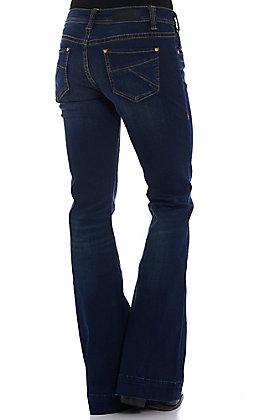 Rock & Roll Cowgirl Women's Dark Wash Pleated Pocket Trouser Jeans