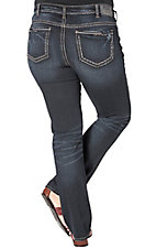Silver Jeans Aiko Women's Dark Wash Mid Rise Straight Leg Open Pocket Jeans - Plus Size
