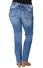 Silver Women's Dark Wash Embroidered Open Pocket Boot Cut Jeans
