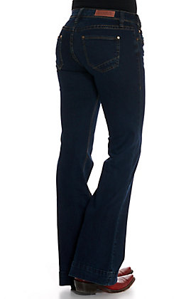 Rock & Roll Denim Women's Dark Wash Open Pocket Trouser Jeans