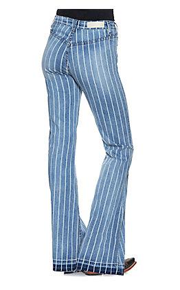 Rock & Roll Cowgirl Women's Light Wash Striped High Rise Raw Hem Trouser Leg Jeans