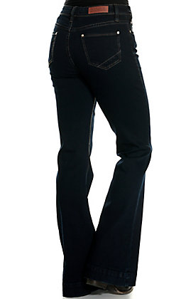 Rock & Roll Cowgirl Women's Dark Wash High Rise Button Front Trouser Jeans