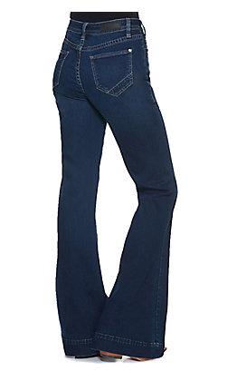 Rock & Roll Cowgirl Women's Dark Wash High Rise Trouser Leg Jean