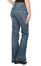 Rock & Roll Cowgirl Women's Medium Wash Raw Hem Trouser Jeans