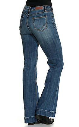 Rock & Roll Cowgirl Women's Medium Wash Front Seam Trouser Jeans