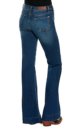 Rock & Roll Cowgirl Women's Medium Wash Multi Button Pockets High Rise Trouser Jeans