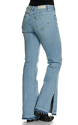 Rock & Roll Cowgirl Women's Light Wash Frayed Split Trouser Leg Jeans