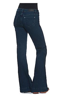 Rock & Roll Cowgirl Women's Dark Wash Mid Rise Trouser Leg Jean