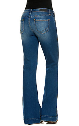 Rock & Roll Cowgirl Women's Medium Wash with Black Trim Mid Rise Trouser Leg Jeans