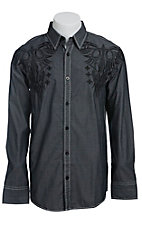 Roar Men's Berlin Charcoal L/S Western Shirt W90004