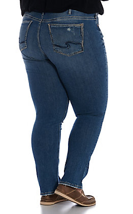 Silver Women's Denim Suki Light Wash Straight Leg Jeans - Plus Size